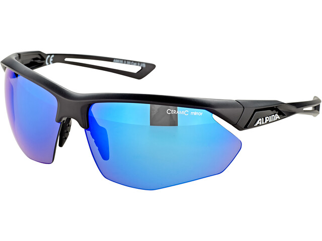 Alpina Nylos HR Glasses black matt/blue mirror